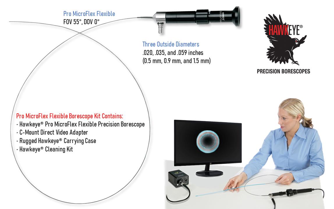 Link to Hawkeye® Pro MicroFlex Flexible Borescopes .020 – .059″ dia. (0.5 – 1.5mm dia.)