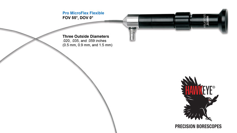 Link to Hawkeye® Pro MicroFlex Flexible Borescopes (.020 – .059 mm dia)