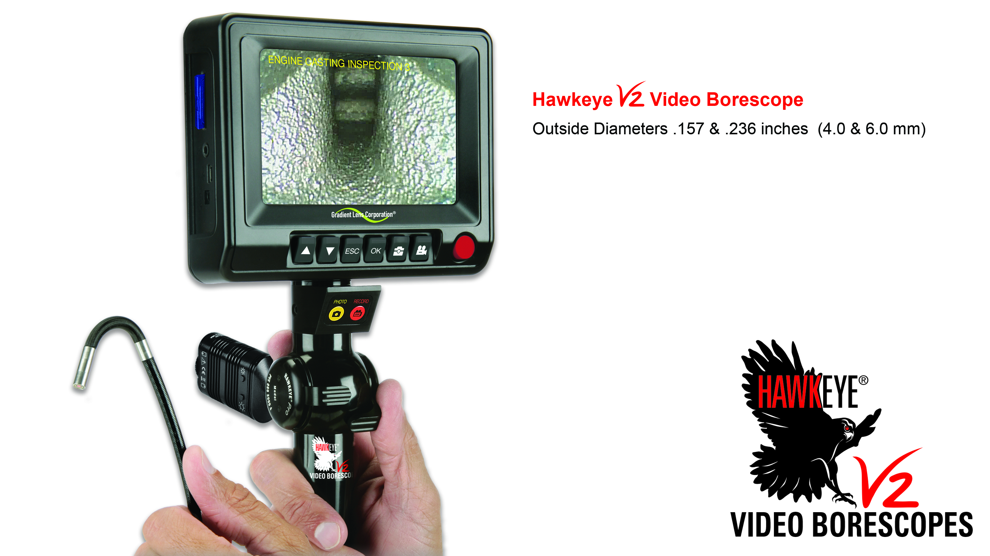 Link to Hawkeye® V2 Video Borescopes (4.0 or 6.0 mm dia.)